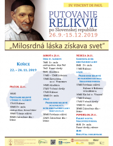 Putovanie relikvií program v Košiciach